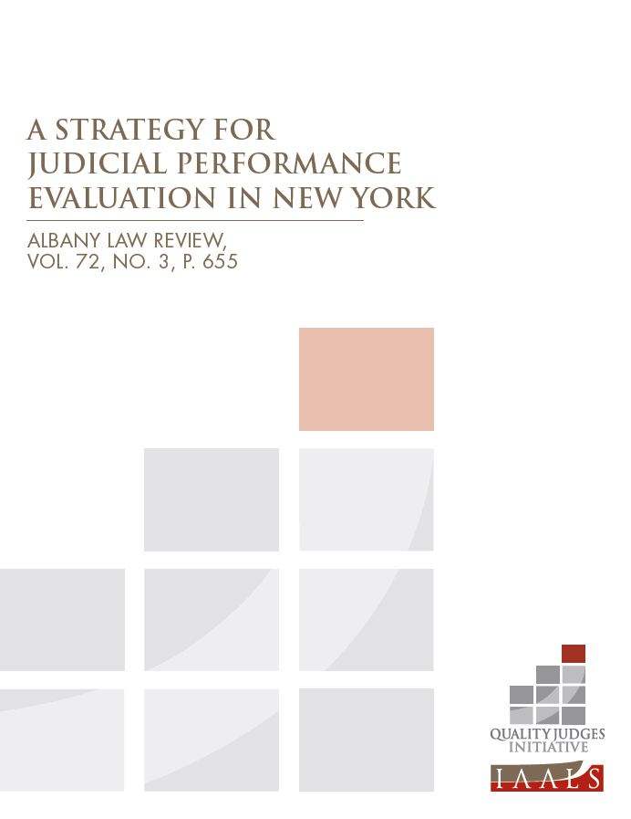 A Strategy for Judicial Performance Evaluation in New York